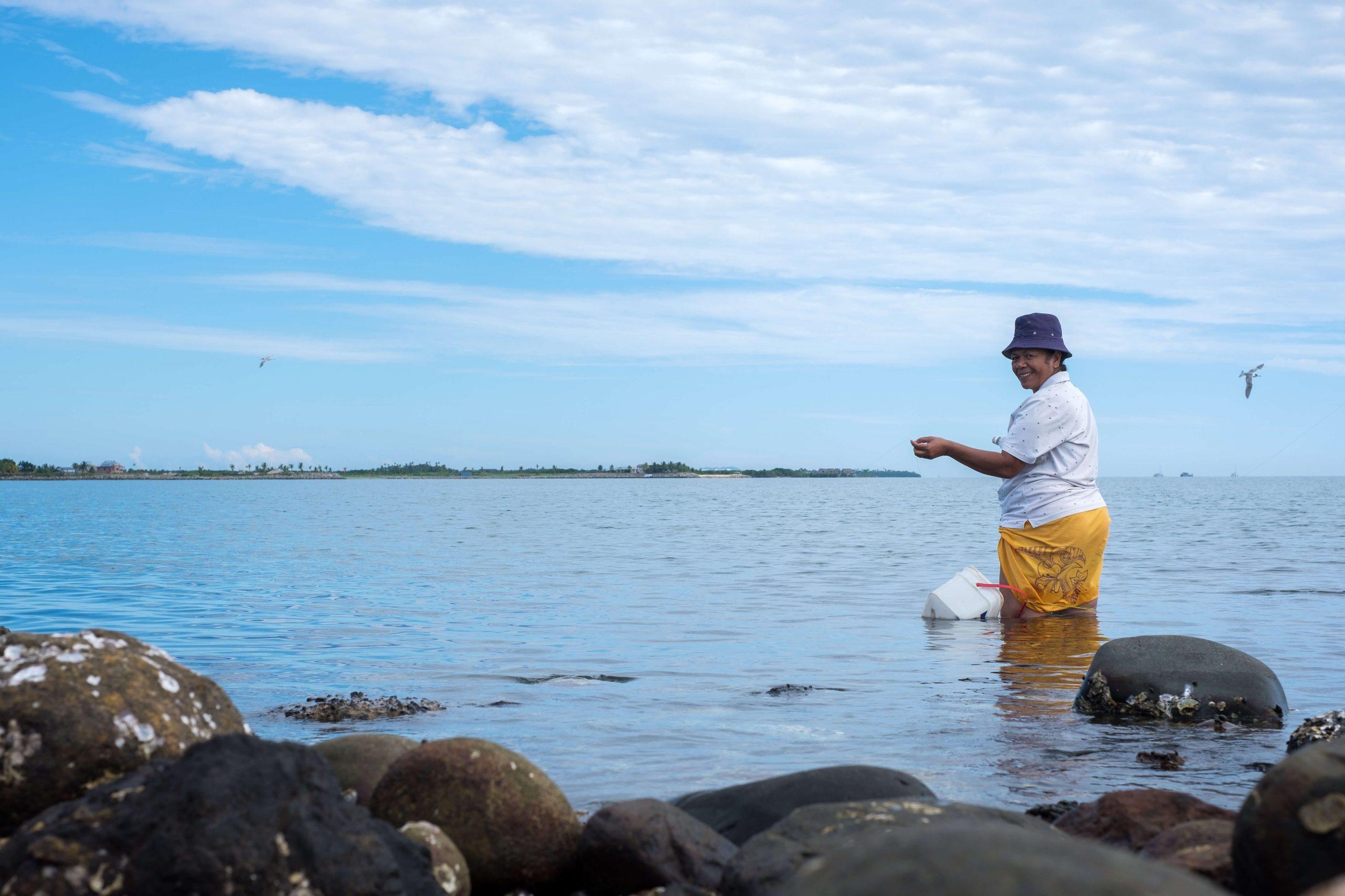 Pacific woman fishing